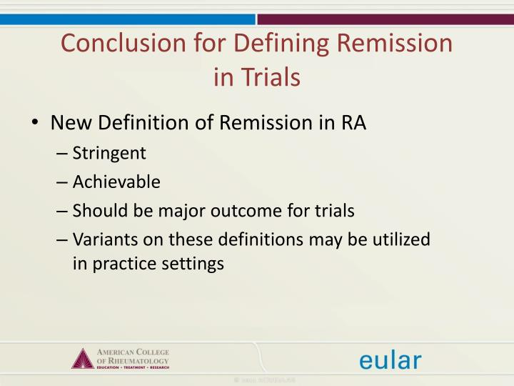 Conclusion for Defining Remission