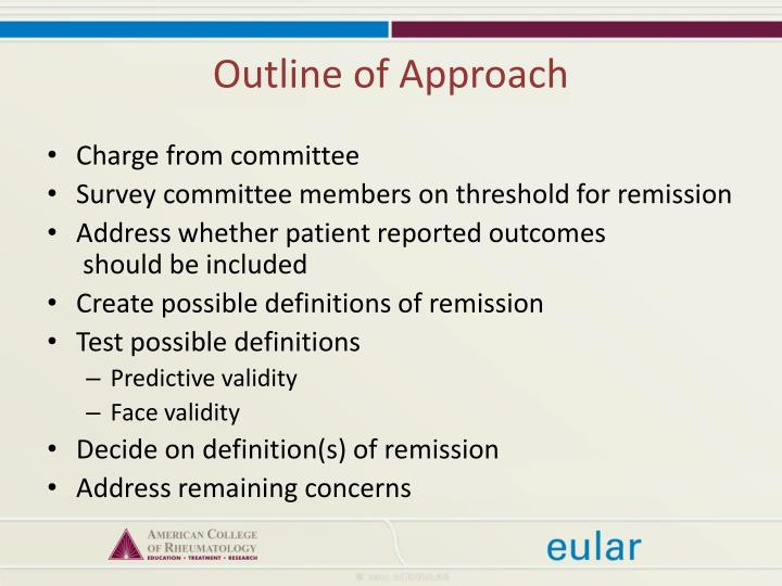 Outline of Approach