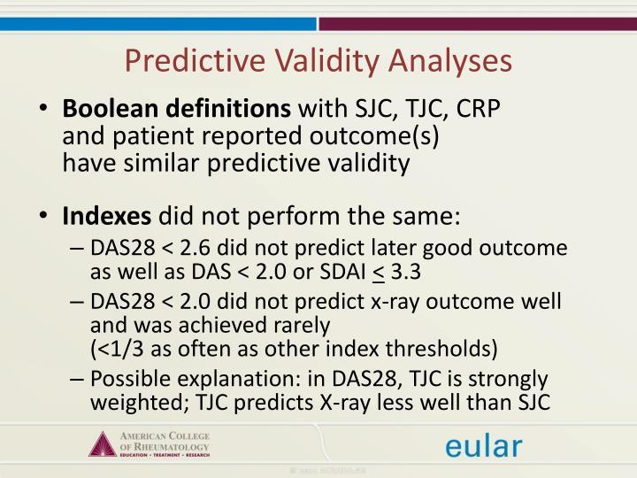 Predictive Validity Analyses