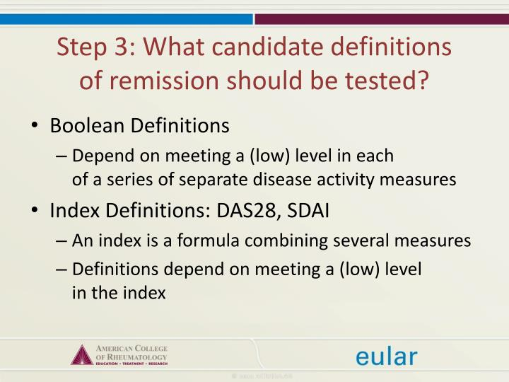 Step 3: What candidate definitions