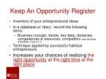 keep an opportunity register