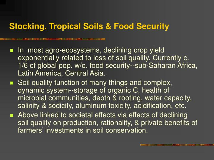 Stocking. Tropical Soils & Food Security