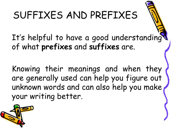 suffixes and prefixes n.