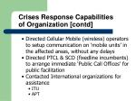crises response capabilities of organization contd