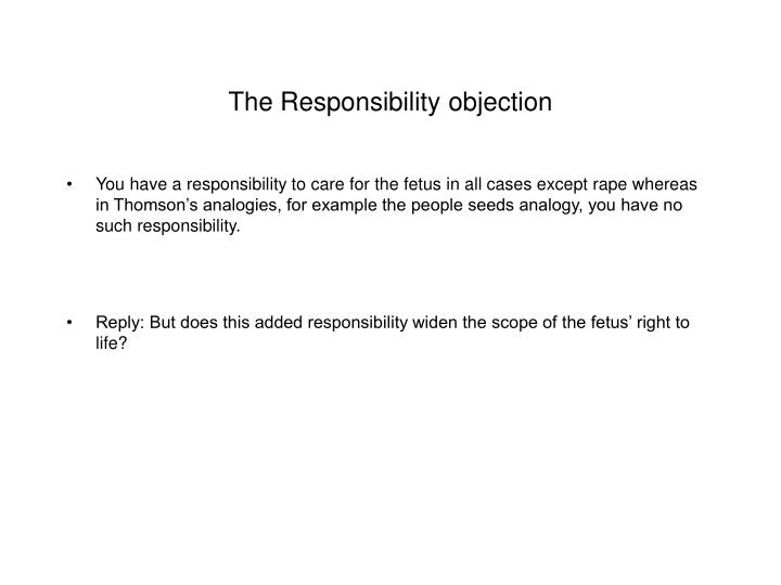 The Responsibility objection