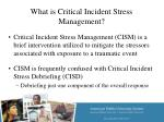 what is critical incident stress management