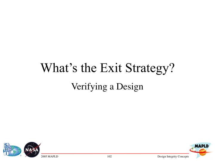 what s the exit strategy n.