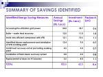 summary of savings identified