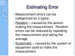 estimating error