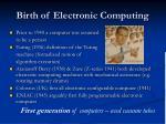 birth of electronic computing