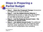 steps in preparing a partial budget1