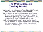 the oral evidences in teaching history