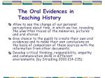 the oral evidences in teaching history1