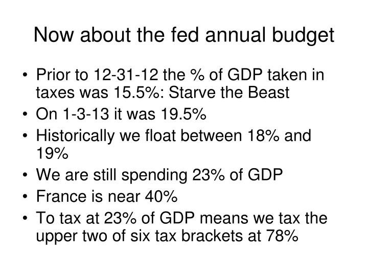 Now about the fed annual budget