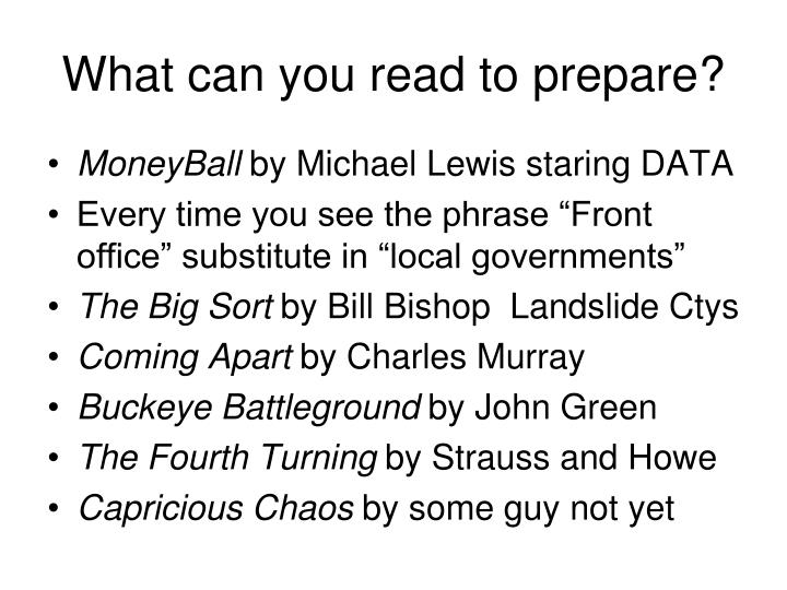 What can you read to prepare?