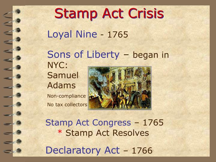 the stamp act crisis The stamp act crisis creator archibald hinschelwood context this letter was written in 1765, after the stamp act was passed audience unknown purpose.