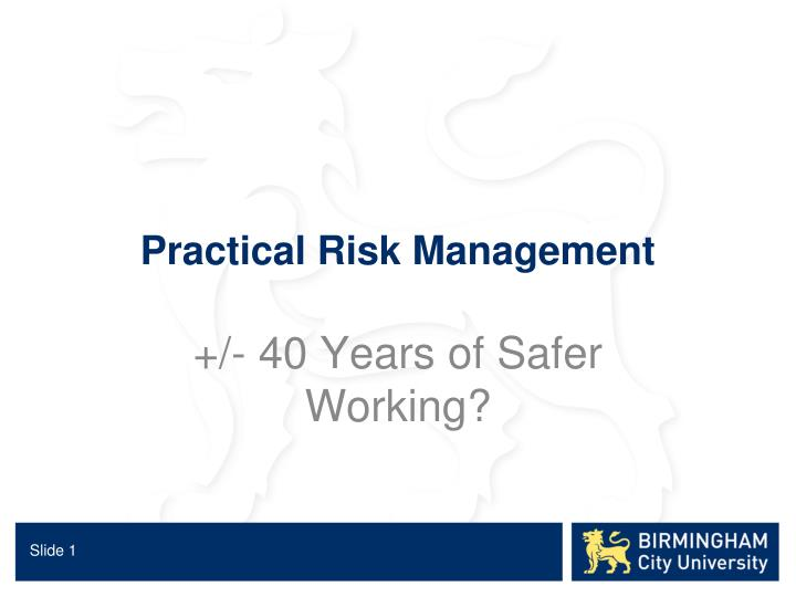 practical risk management n.