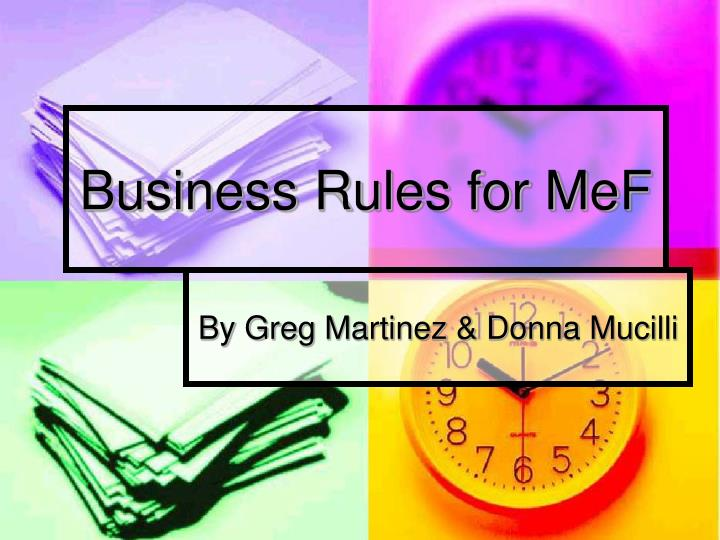 business rules for mef n.
