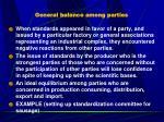 general balance among parties
