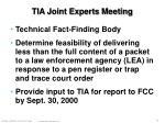 tia joint experts meeting