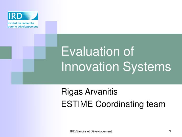 evaluation of innovation systems n.