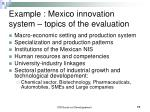 example mexico innovation system topics of the evaluation