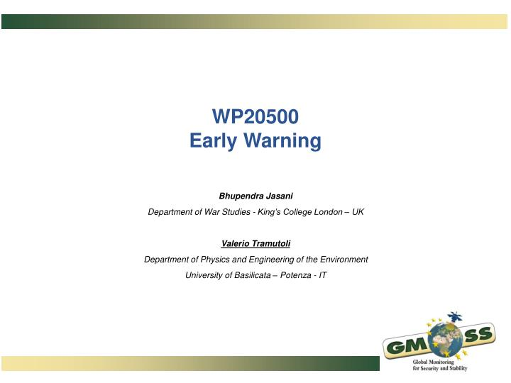 Wp20500 early warning