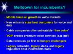 meltdown for incumbents