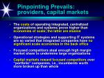 pinpointing prevails providers capital markets