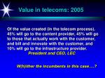value in telecoms 2005