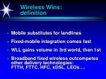 wireless wins definition