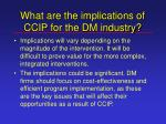what are the implications of ccip for the dm industry