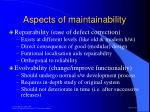aspects of maintainability