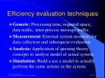 efficiency evaluation techniques