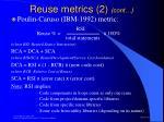 reuse metrics 2 cont