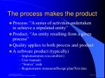 the process makes the product