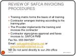 review of safca invoicing procedures