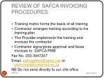 review of safca invoicing procedures