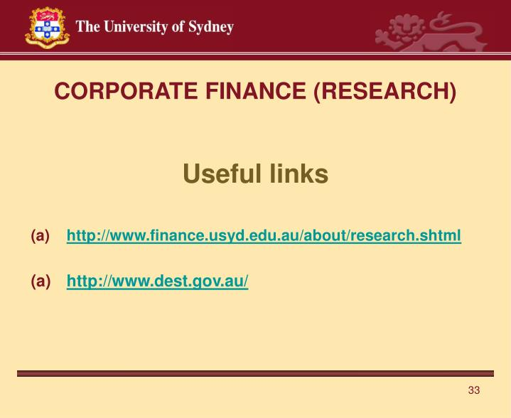 CORPORATE FINANCE (RESEARCH)