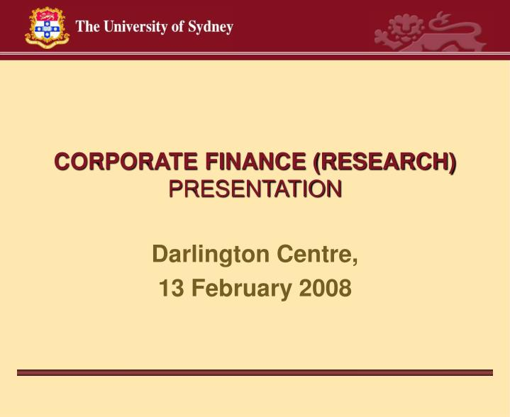 corporate finance research presentation n.