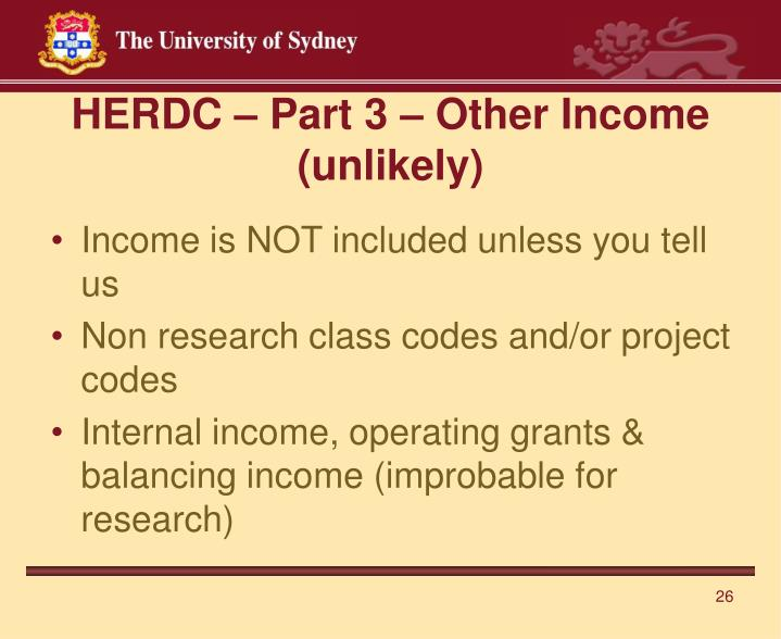 HERDC – Part 3 – Other Income (unlikely)
