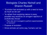 biologists charles nicholl and sharon russell