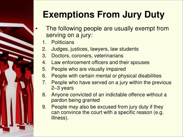 Exemptions From Jury Duty