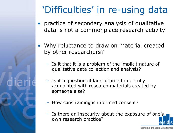 'Difficulties' in re-using data