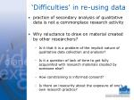 difficulties in re using data