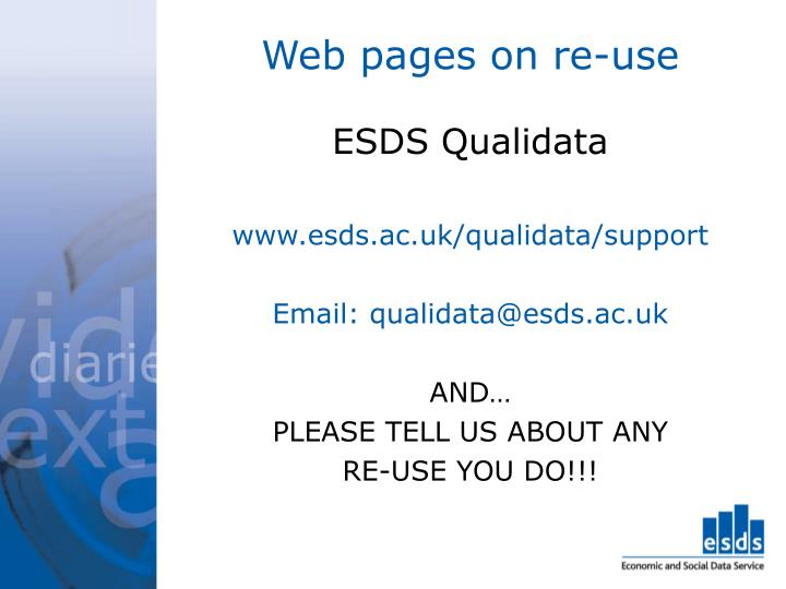 Web pages on re-use