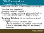 dba framework and operational definitions