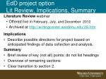 edd project option lit review implications summary