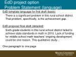 edd project option problem statement language