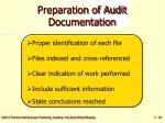 preparation of audit documentation
